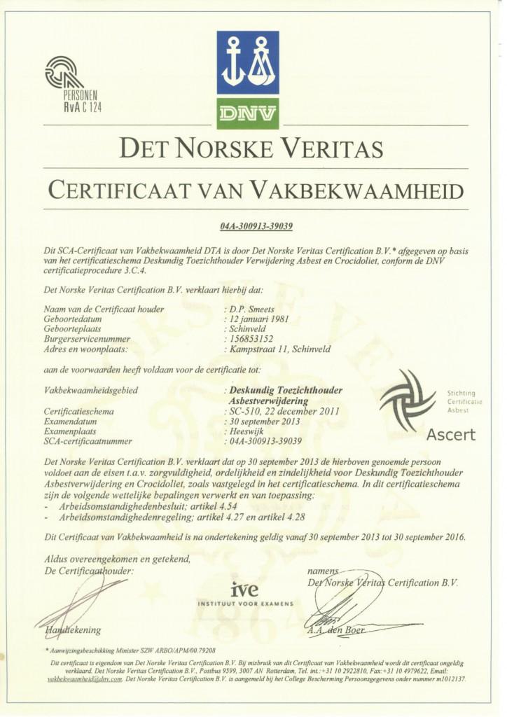 Deskundig Toezichthouder Asbestsloop D. Smeets