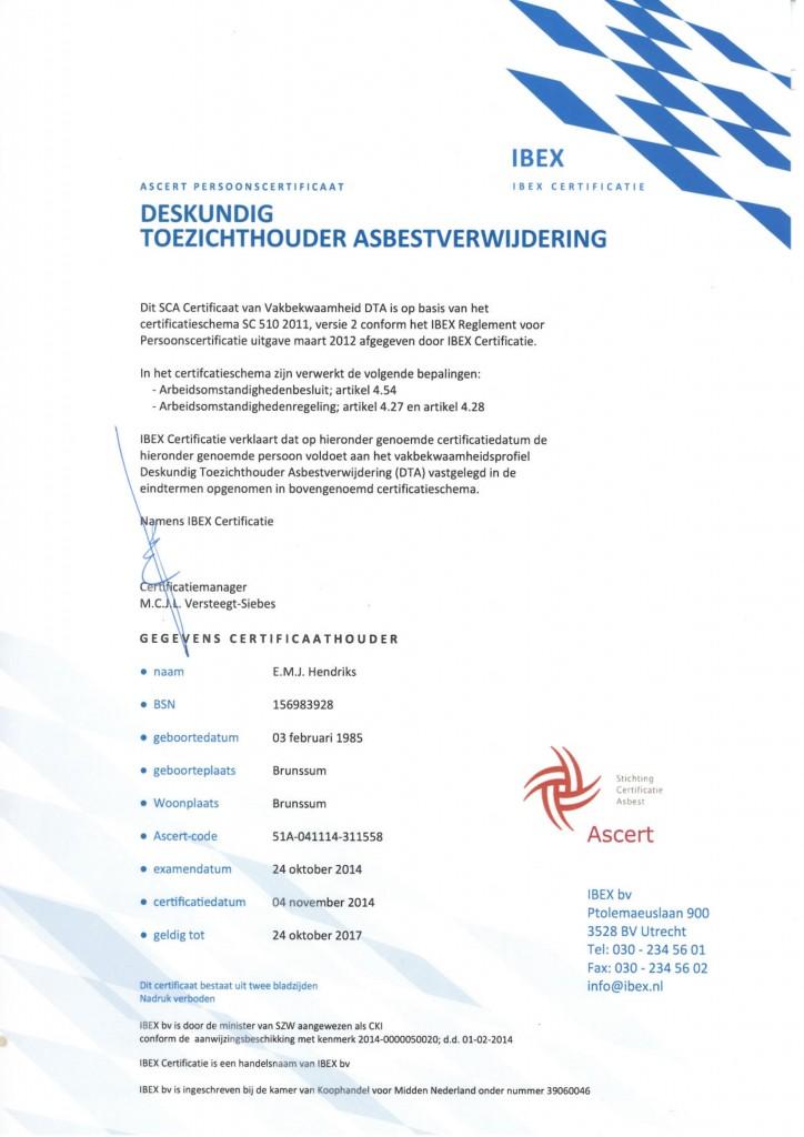 Deskundig Toezichthouder Asbestsloop E. Hendriks
