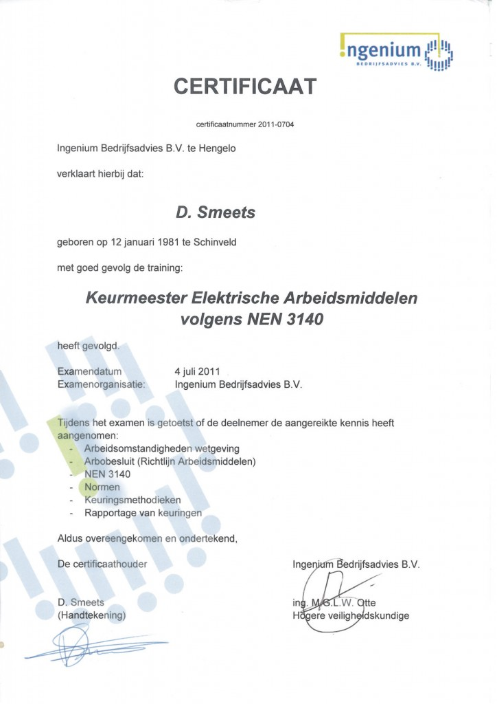 Keurmeester NEN3140 D. Smeets