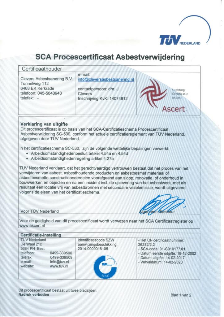 SCA Procescertificaat Asbestverwijdering Clevers Asbestsanering