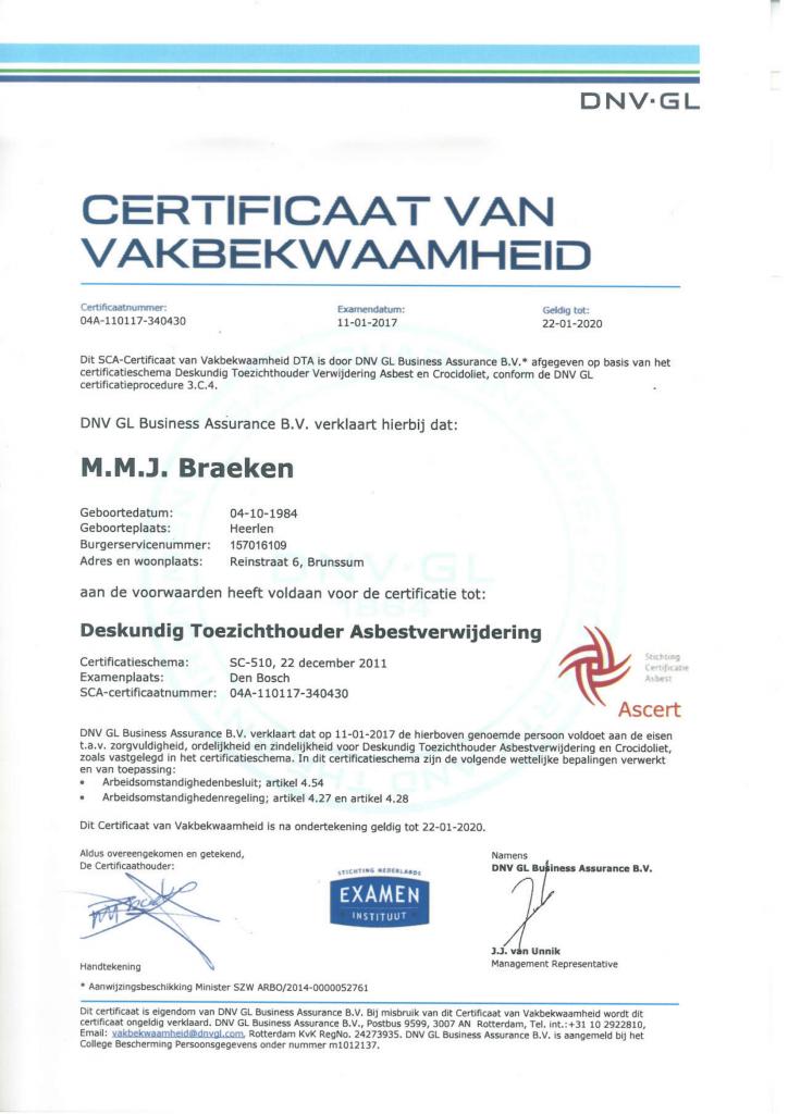 Deskundig Toezichthouder Asbestsloop M. Braeken