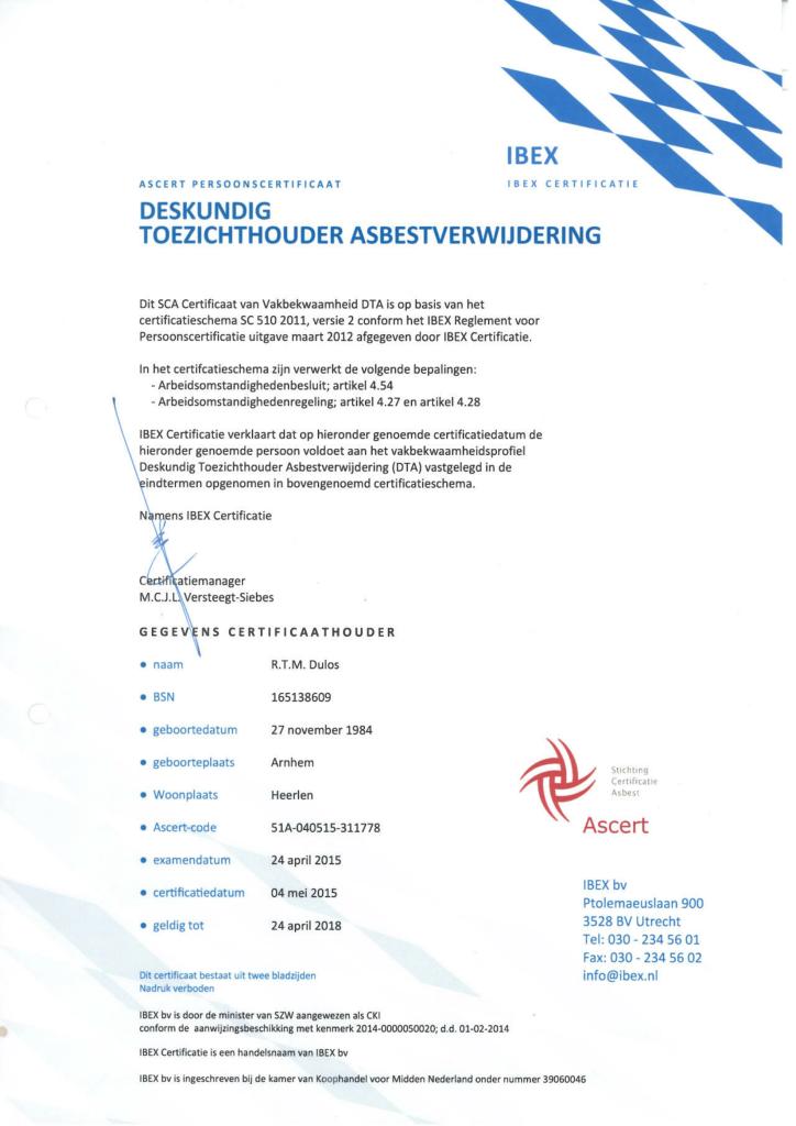 Deskundig Toezichthouder Asbestsloop R. Dulos