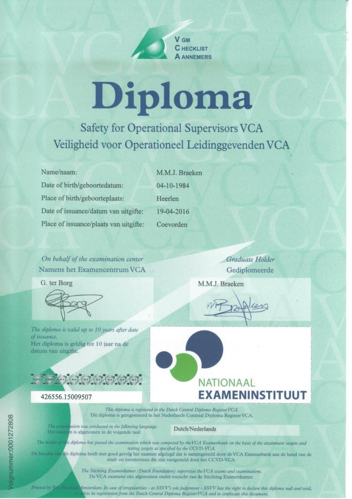 Veiligheids Certificaat Aannemers M. Braeken
