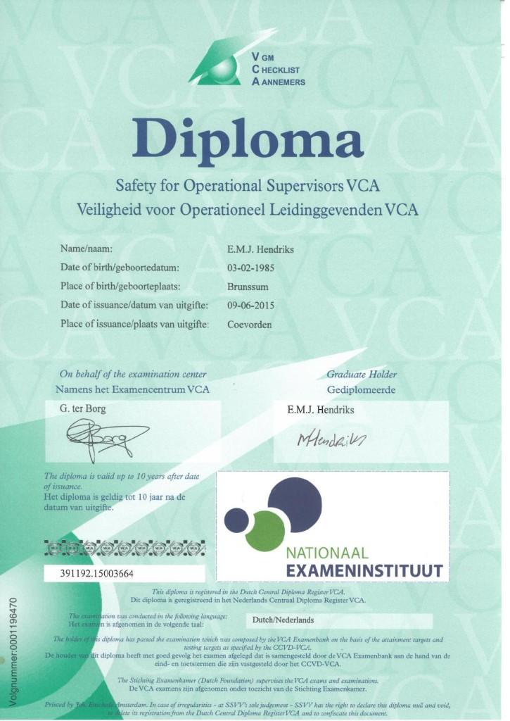 Veiligheids Certificaat Aannemers E.Hendriks