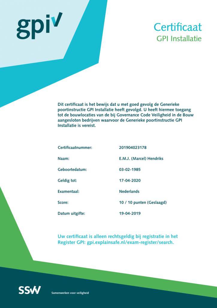 GPI Installatie Marcel Hendriks